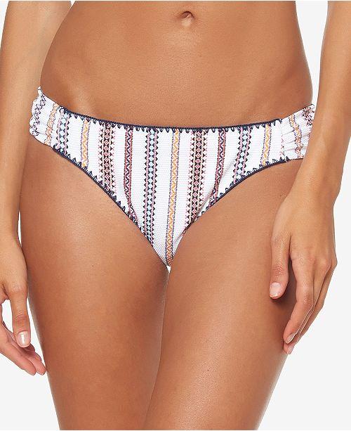 Jessica Simpson Textured Side-Shirred Bikini Bottoms