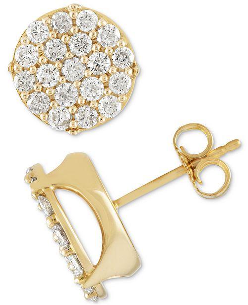 4368d651c Macy's Men's Diamond Cluster Stud Earrings (1-1/2 ct. t.w.) in 10k ...