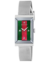 d8b8ecc3442 Gucci Women s Swiss G-Frame Stainless Steel Mesh Bracelet Watch 21x34mm