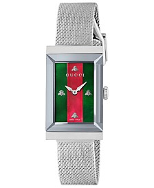 Gucci Women's Swiss G-Frame Stainless Steel Mesh Bracelet Watch 21x34mm