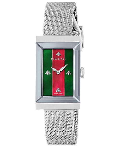339bc68b1438f3 ... Gucci Women s Swiss G-Frame Stainless Steel Mesh Bracelet Watch 21x34mm  ...