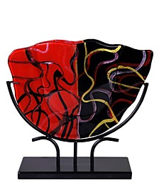 "Red and Black Big Vase, 16"" x 18"" x 4"""