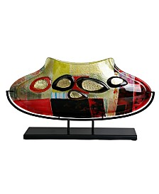 """20.5"""" x 11.5"""" Oval Fused Glass Vase with Metal Stand"""