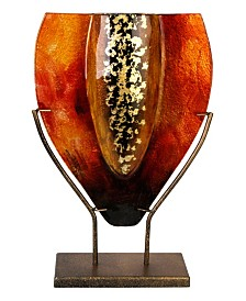 "11"" x 16"" Tear Drop Vase, Gold Kissed Stand"