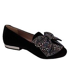 Jessica Simpson Youth Kids Black Velvet Loafer with Bow
