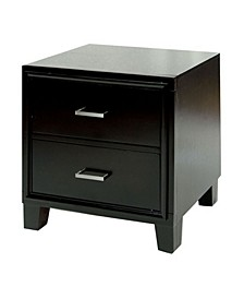 2 Drawer Contemporary Night Stand, Espresso Brown