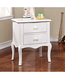 2 Drawers Traditional Style Night Stand, White