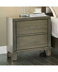 Contemporary Style Night Stand, Gray Finish