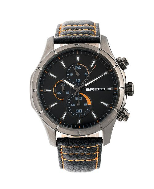 Breed Quartz Lacroix Chronograph Gunmetal And Charcoal Genuine Leather Watches 47mm
