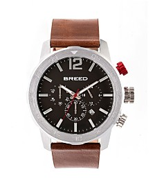 Breed Quartz Manuel Chronograph Silver And Brown Genuine Leather Watches 46mm