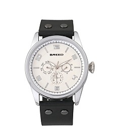 Breed Quartz Rio Silver And Black Genuine Leather Watches 43mm