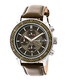 Quartz Maverick Chronograph Silver And Olive Genuine Leather Watches 43mm