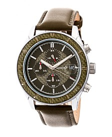 Breed Quartz Maverick Chronograph Silver And Olive Genuine Leather Watches 43mm