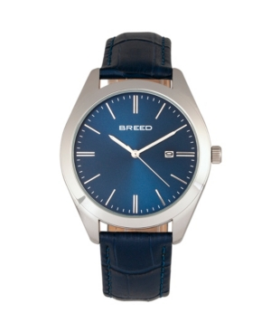 Breed Quartz Louis Silver And Blue And Blue Genuine Leather Watches 42mm