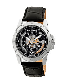 Heritor Automatic Armstrong Silver & Black Leather Watches 44mm
