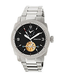 Heritor Automatic Helmsley Silver & Black Stainless Steel Watches 45mm