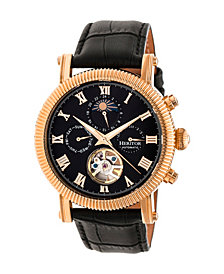 Heritor Automatic Winston Rose Gold & Black Leather Watches 45mm
