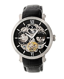 Automatic Aries Silver & Black & Black Leather Watches 43mm