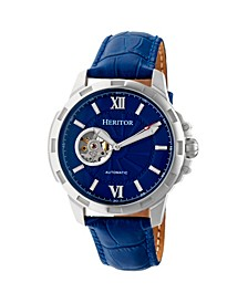Automatic Bonavento Silver & Blue Leather Watches 44mm
