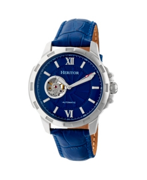 Heritor Automatic Bonavento Silver & Blue Leather Watches 44mm