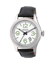Heritor Automatic Barnes Silver Leather Watches 44mm