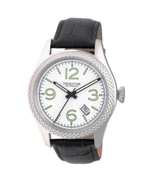 Automatic Barnes Silver Leather Watches 44mm