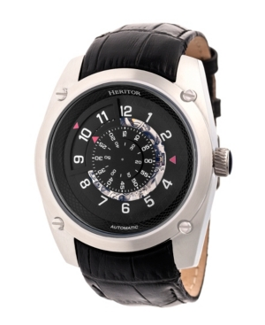 Heritor Automatic Daniels Silver & Black Leather Watches 43mm