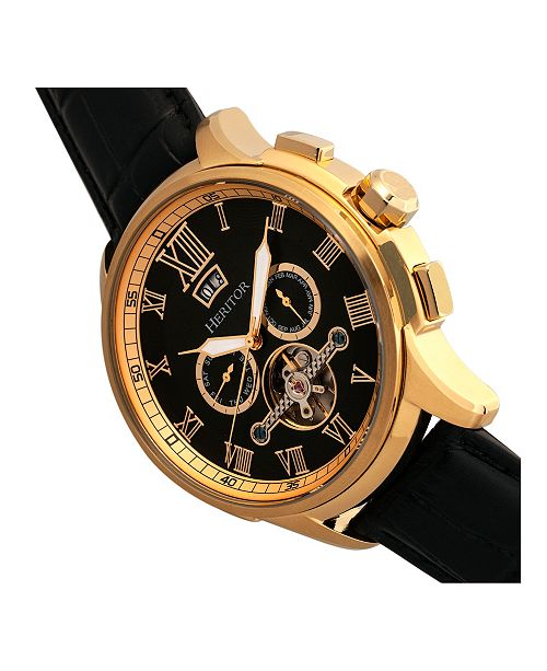 e5f3909e5 Heritor Automatic Hudson Gold & Black Leather Watches 47mm & Reviews ...