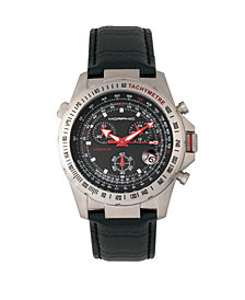 Morphic M36 Series Leather-Band Chronograph Watch - Silver/Black