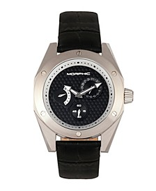 M46 Series, Silver Case, Black Leather Band Men's Watch w/Date, 44mm