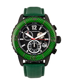 Morphic M51 Series, Black Case, Green Leather Chronograph Band Watch w/Date