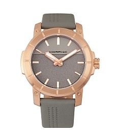 Morphic M54 Series, Rose Gold Case, Grey Leather Band Chronograph Watch, 46mm