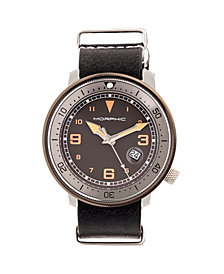 Morphic M58 Series Nato Leather-Band Watch w/ Date - Gunmetal/Black