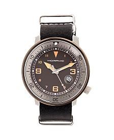 Morphic M58 Series, Gunmetal Case, Black Nato Leather Band Watch w/ Date, 42mm