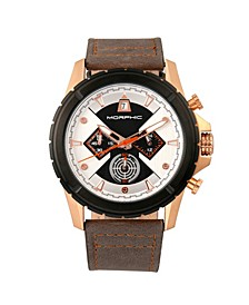 M57 Series, Rose Gold Case, Grey Chronograph Leather Band Watch, 43mm