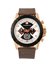 Morphic M57 Series, Rose Gold Case, Grey Chronograph Leather Band Watch, 43mm