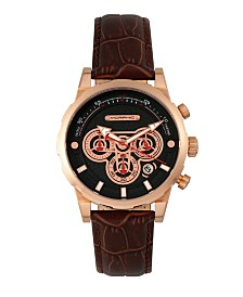 Morphic M60 Series, Rose Gold Case, Brown Leather Chronograph Band Watch w/Date, 45mm