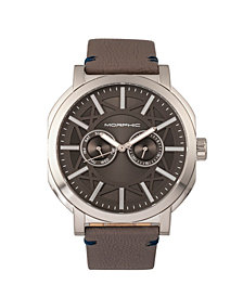 Morphic M62 Series Leather-Band Watch w/Day/Date - Silver/Grey