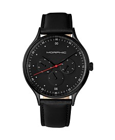 M65 Series, Black Leather Band Watch w/Day/Date, 42mm