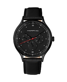 Morphic M65 Series, Black Leather Band Watch w/Day/Date, 42mm