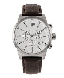 Morphic M67 Series, Silver Case, Chronograph Brown Leather Band Watch w/Date, 44mm