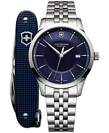 Victorinox Swiss Army Men's Swiss Alliance Stainless Steel Bracelet Watch 40mm Box Set