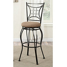 29 Inch Metal Swivel Barstool With Cushioned Seat, Brown And Black, Set Of 2