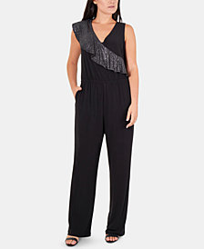 NY Collection Petite Glitter-Ruffle Jumpsuit