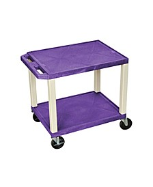 "26""H Tuffy AV Cart with 2 Shelf, Electric - Red Shelves/Putty Legs"