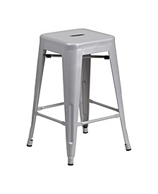 24'' High Backless Metal Indoor-Outdoor Counter Height Stool with Square Seat