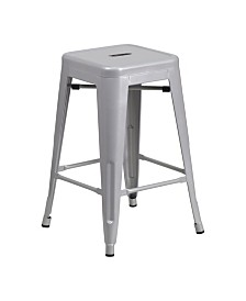 Clickhere2shop 24'' High Backless Metal Indoor-Outdoor Counter Height Stool with Square Seat