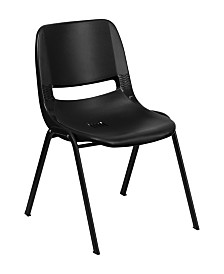 Offex 440 lb. Capacity Ergonomic Shell Stack Chair with Frame and 14'' Seat Height