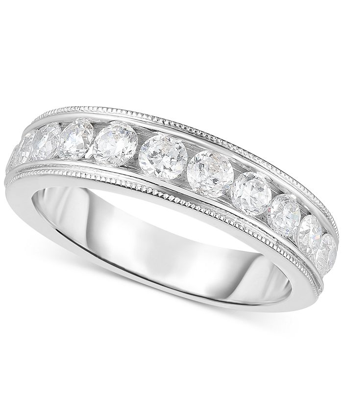 Macy's - Diamond Bead Edge Channel-Set Band (9/10 ct. t.w.) in 14k White Gold