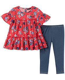 Tommy Hilfiger Toddler Girls 2-Pc. Floral-Print Tunic & Denim Leggings Set